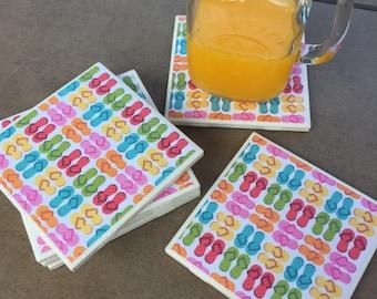 Flip Flop Coasters, Summer Coasters, Beach Coasters, Coaster Set, Drinkware, Ceramic Coasters, Beach House, BBQ, Housewarming, Hostess Gift