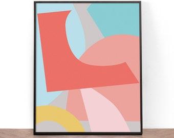 Abstract Art Print, Collage, Printable Wall Art, Nursery Print, Wall Art, Nursery Art, Digital Download, Paper Art, Screenprint, Paper Art