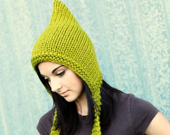 Green Chunky Knit Hat Women Pixie Hat in Lemongrass Green Knit Hat - Green Hat Green Pixie Hat Winter Hat - 34 Color Choices