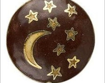 Cloisonne Crescent Moon and Stars Puffed Flat Round Focal Pendant Bead 33mm