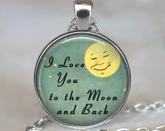 I Love You to the Moon and Back necklace, Love you to the Moon pendant anniversary gift for wife Valentine gift key chain key ring key fob