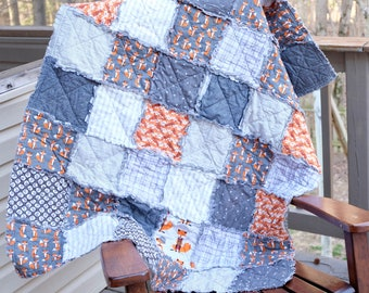Fox Rag Quilt, Baby Rag quilt, Crib rag Quilt, Gray Rag Quilt, Ready to ship Rag quilt