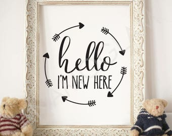 Hello I'm New Here/ Instant Download / Clipart graphic files/ Cutting File in Svg, Eps, Dxf, Png, and Jpeg for Cricut, Silhouette,