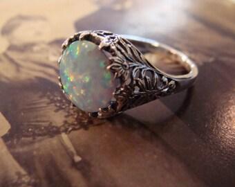 Lovely Sterling Filigree Opal Ring  Size 6.5 Art Nouveau design