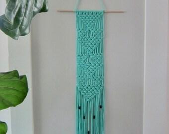 Handmade Narrow Macrame Turquoise Aqua Wall Hanging with Wooden Beads
