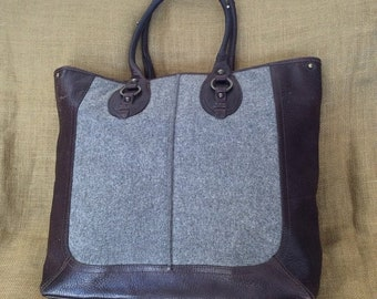 15% OFF SALE Genuine vintage wool and leather shopping tote bag shopper