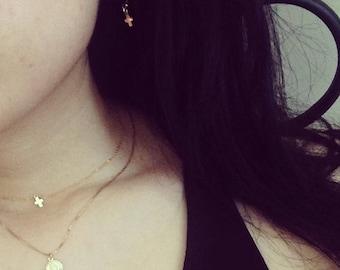 14kt gold filled petite cross hoop earrings