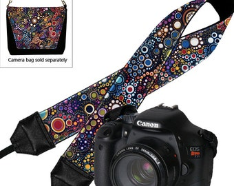 Camera Shoulder Strap, Women's DSLR Padded Camera Strap, Padded Camera Strap Nikon Canon Binocular colorful dots  RTS