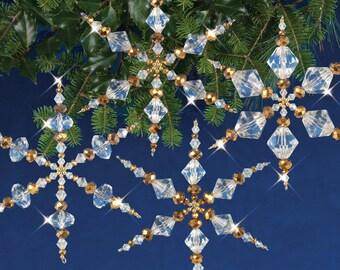 Crystal / Gold Snowflakes Beaded Christmas Ornament Kit (NC003)