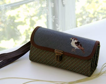 There is a bird in my garden - medium wallet clutch wristlet, brown case for phone and cash, Christmas gift for nature lover- READY TO SHIP