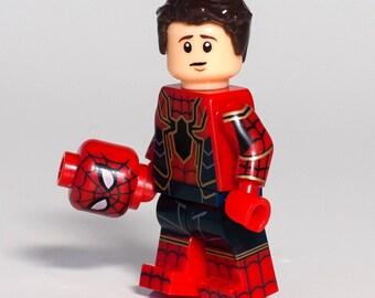New Avengers Infinity War Peter Parker Iron Spider Suit Mask akaSpider-Man Homecoming Marvel Superhero Spiderman Custom Minifigure