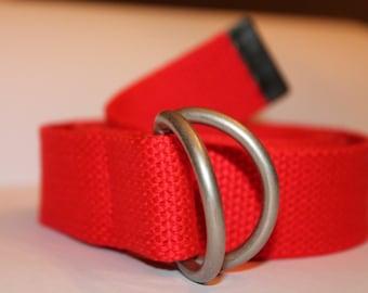 Kids Belt Red D Ring Red Kids Webbing Belt School Uniform Belt Kids Canvas Belt Children's Red D Ring Belt Boys REd BElt