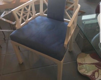 Chippendale Arm Chair in Blue ultra suede (4 availdble)