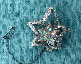 Vintage 1950s Silvertone AB Diamanté Maple Leaf Brooch