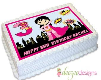 Supergirl A4 Edible Icing Cake Topper - EI082A4