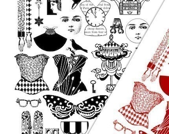 Art Doll Elements Digital Collage Print Sheets no184