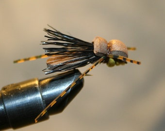 Fly Fishing - Fly Fishing Flies - Lure - Hopper - Brown Foam Grasshopper - Cricket - Beetle - Black Deer Hair Wing - Number 10 Hook.