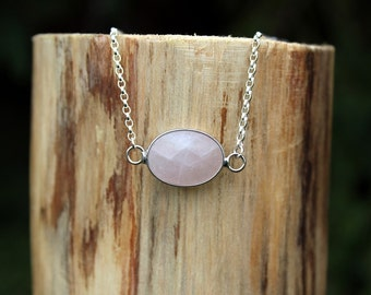 Rose Quartz Pendant Necklace, Silver Necklace, Boho Necklace, Minimalist Necklace, Gemstone Necklace, Gift For Her, Womens Necklace
