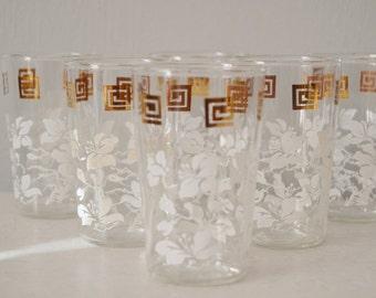 Juice Glasses Vintage Set of Five White Floral Gilded Gold Greek Key Design