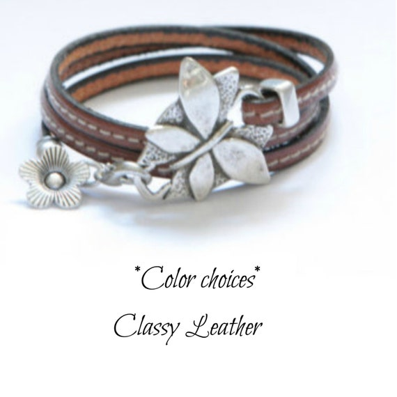 Butterfly Bracelet, leather bracelet,women bracelet,wrap bracelet,trendy bracelet,cuff bracelet,wrap,gift for girl, women wrap