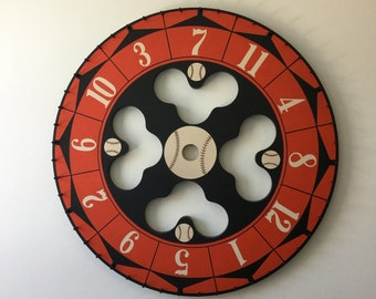"24"", Carnival Wheel, Wood, Hand Painted, Folk Art, Primitive, Game Board, Game Boards, Wooden, Baseball"