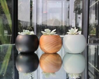 Set of 3 Teak Wood Planters - Spheres (Natural/Black/Grey)