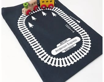 Take along train bag, trains on the go, toy storage, toy trains