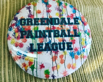 "Greendale Paintball League 2.25"" pin"
