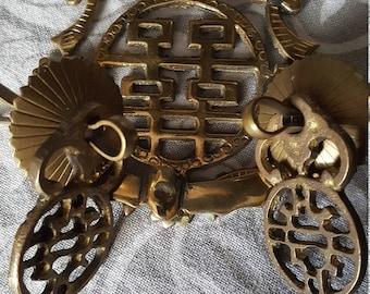 Chinoiserie Brass Oriental Drawer Pulls