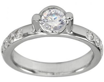 Diamond Engagement Ring 3/8 Carat Round Bezel Set Center In 14K White Gold Ring