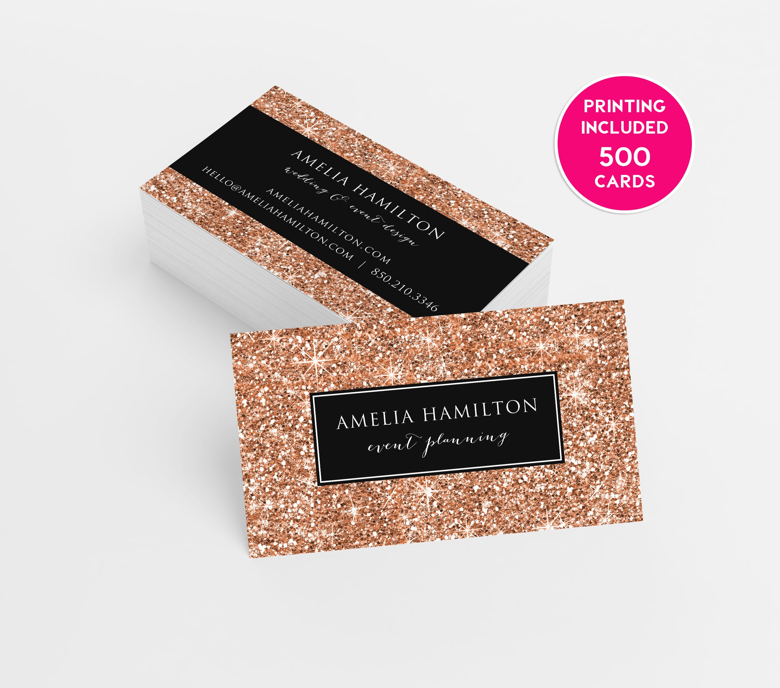 Rose Gold Glitter Business Cards Design 500 Printed Business