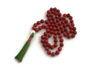 Pink beaded necklace - green tassel necklace - boho style - gifts under 30 - birthday gift idea - hand knotted necklace