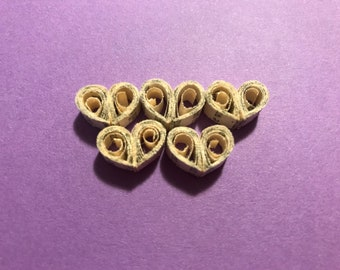 5 Small Quilled Book Paper Hearts