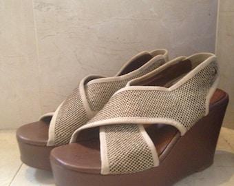 Vintage Shoes/ Crown Platform Chunky Wedge Sandal/ Open Toe  Brown Sandals Women's Shoes Size 7. 5