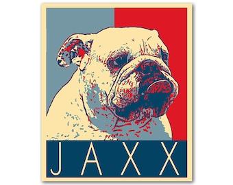 Custom pet portrait - Custom Barack Obama Hope portrait - Dog political portrait - Custom political portrait - Personalized pet illustration