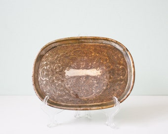 Beautiful vintage silver plated tray, old school, antique, copper