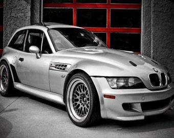 Silver BMW M-Coupe Car Photography, Automotive, Auto Dealer, Muscle, Sports Car, Mechanic, Boys Room, Garage, Dealership Art