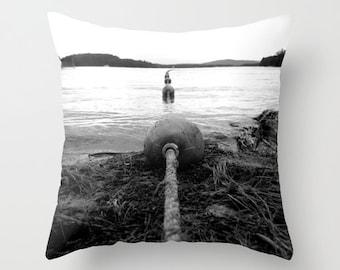 Photo Pillow Cover Decorative Black Pillow Water Pillow Ocean Pillow Beachy Pillow Cover