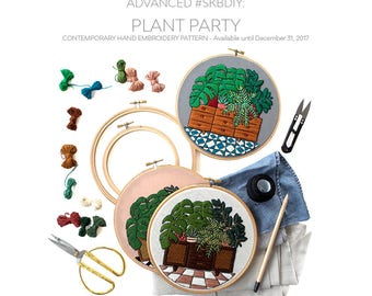 Out of Retirement! Advanced Hand-Embroidery Pattern By Sarah K. Benning:Plant Party- Digital Download, pdf pattern, #skbdiy