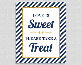 Love is Sweet Please Take a Treat Shower Sign, Navy & Gold Stripe,  Bridal Shower Table Favor Sign, DIY Printable, INSTANT PRINTABLE