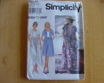 VINTAGE 1990s Simplicity Pattern 9598, Misses Pullover Dress, Full Skirt, Kimono Sleeves, Multi Size L, XL,  Uncut