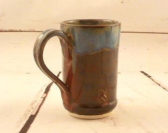 Ceramic Cup - Stoneware Tea Mug - Small Latte Mug - 7 Ounce Size - Handmade Pottery - Jasper Brown Red with Blue Rim - Ready to Ship  m305