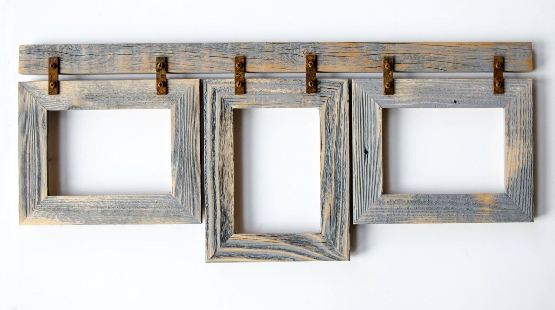 barnwood collage frame 3 5x7 multi opening frame rustic. Black Bedroom Furniture Sets. Home Design Ideas