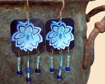 Brilliant blue Lotus Image earrings with bead dangles