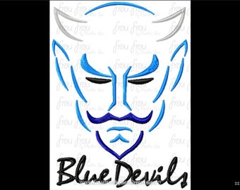 """Blue Devils Mascot Sketch TWO Versions, with and without wording Digital Embroidery Design Machine 2""""-16"""""""