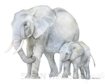 Elephants Watercolor Painting Print - 6 x 4 - African Animal Giclee Reproduction - Elephant Safari Nursery Art