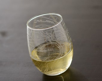 Philadelphia Maps Stemless Wine
