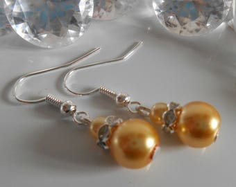 Wedding earrings rhinestone and Pearl yellow gold