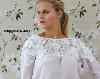SALES Women long sleeve white blouse,  white top, white shirt, office wear, business clothes, ONLY SIZE S