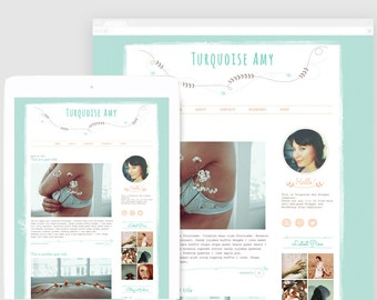 Girly Blog Template — Hand drawn Blog Design — Cute Blogger Template — Premade Blog Template — Feminine Blog — Sophisticated / Turquoise Amy